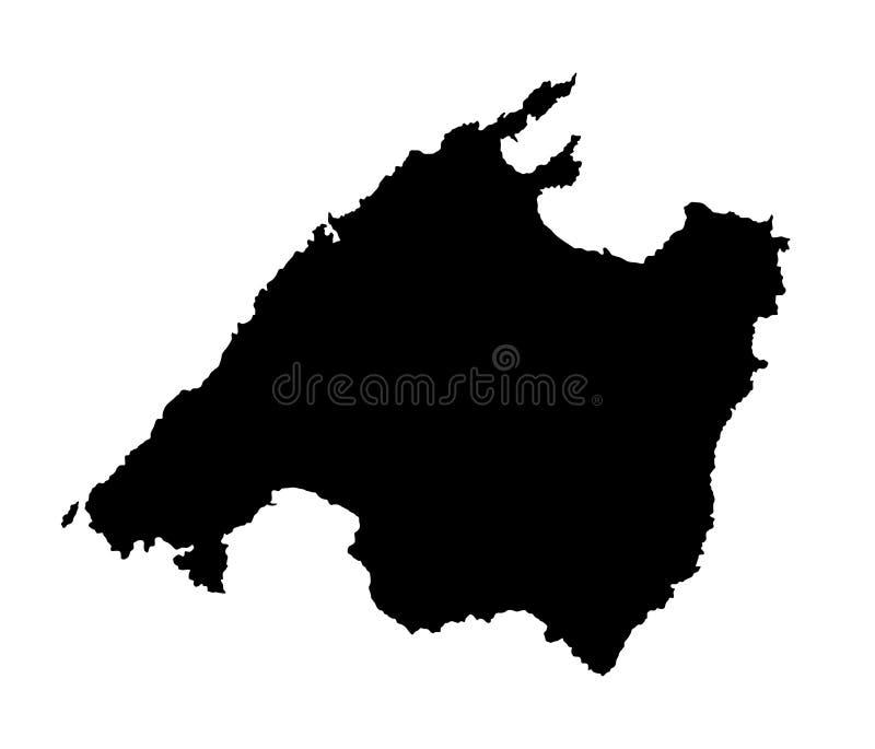 Vector la silueta del mapa de la isla de Mallorca, España stock de ilustración