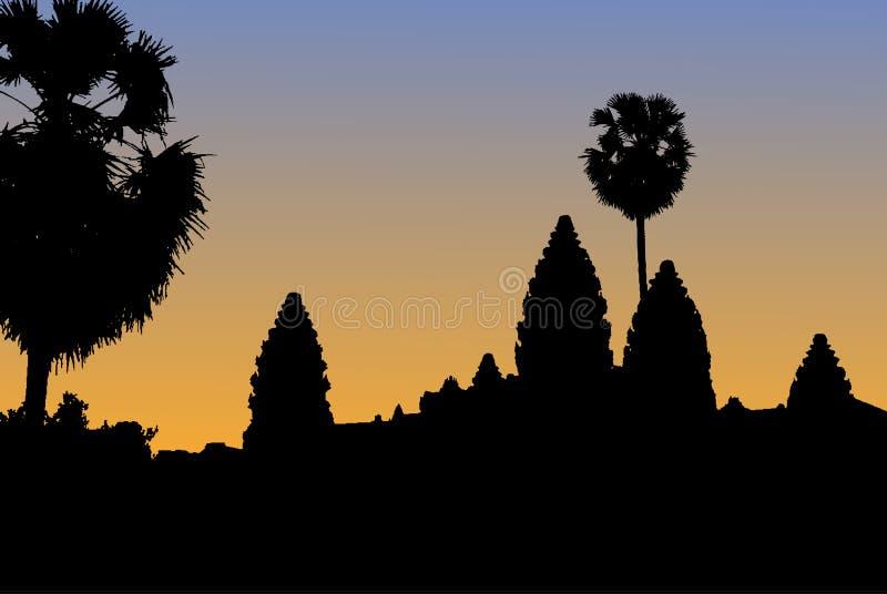 Vector la silueta del templo de Angkor Wat en Camboya con s anaranjado libre illustration