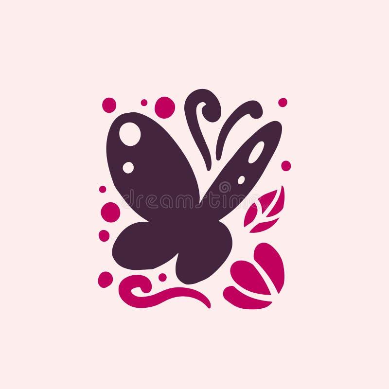 Vector la silueta dibujada mano divertida linda plana del insecto de la mariposa aislada en el fondo blanco stock de ilustración