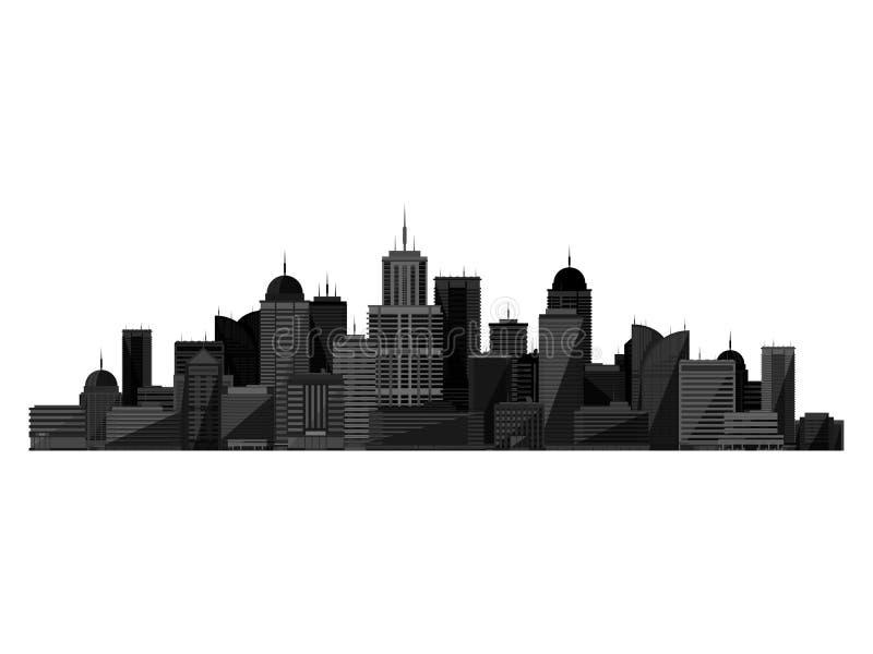 Vector la silueta negra de la ciudad aislada en el fondo blanco libre illustration