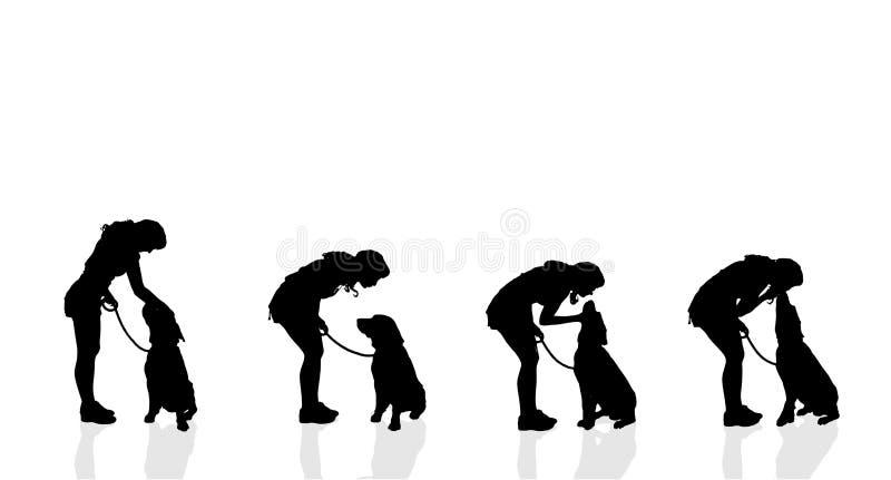 Vector la siluetta di una donna con un cane illustrazione vettoriale