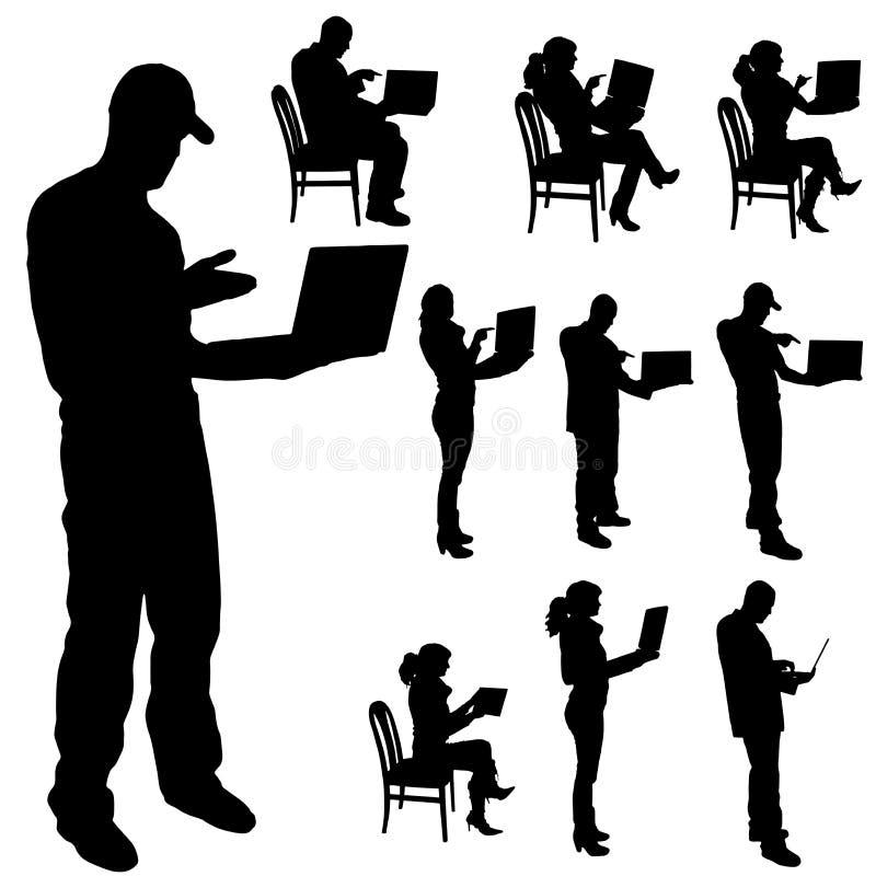 Vector la siluetta di una gente con un computer illustrazione vettoriale