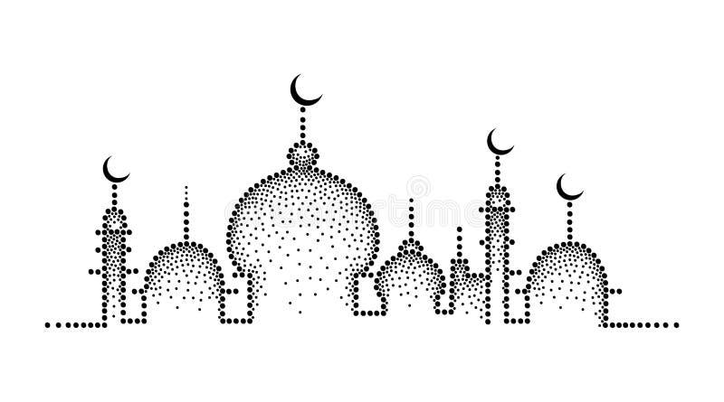 Vector la siluetta punteggiata della moschea nel nero isolata su fondo bianco Composizione orizzontale con la moschea nello stile royalty illustrazione gratis