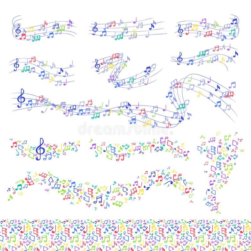 Vector la sinfonía de la escritura del texto de la melodía de los símbolos del músico del colorfull de la melodía de la música de libre illustration