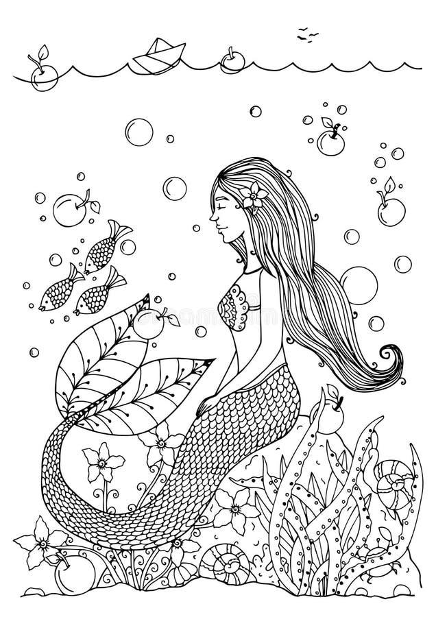 Vector La Sirena Del Zentangl Del Ejemplo En El Océano Con Las ...