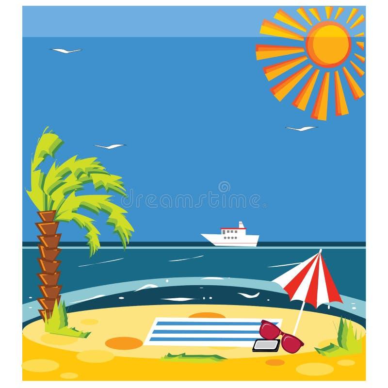 Download Vector La Spiaggia Dell'estate Di Concetto Con La Sabbia Ed Il Mare In Variopinto Luminoso Illustrazione di Stock - Illustrazione di stagione, festa: 55350475