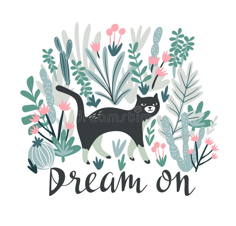 Vector la stampa tropicale per la maglietta con il gatto nel deserto Progettazione animale d'avanguardia nello stile di boho con  illustrazione di stock