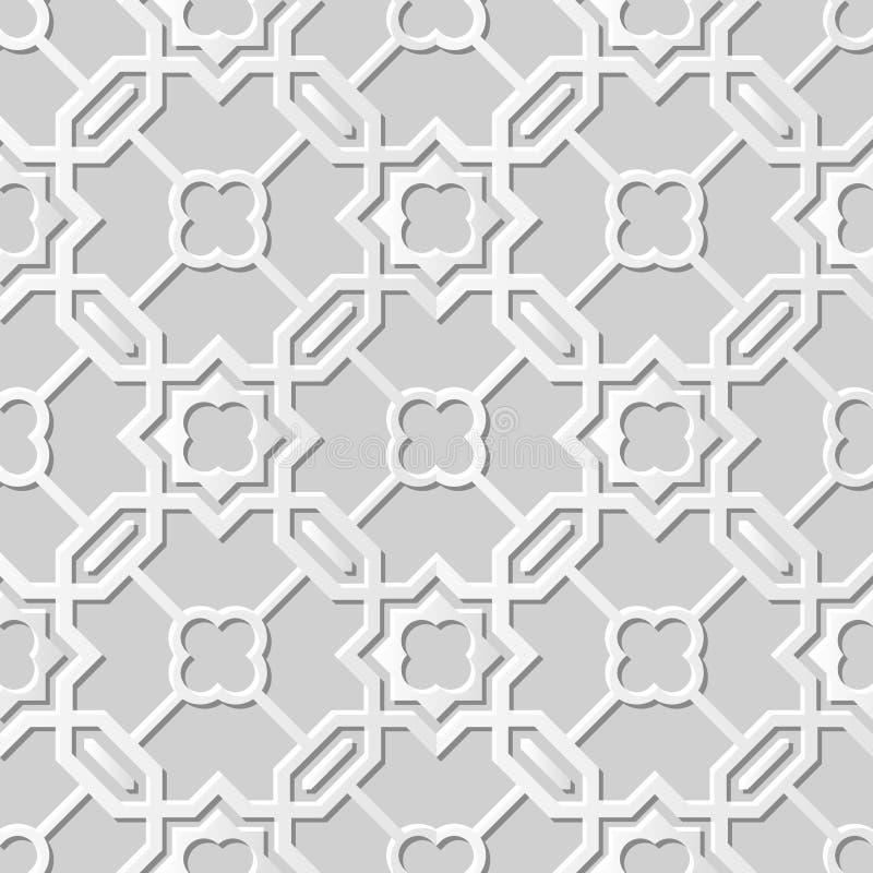 Vector la stella trasversale della carta 3D del damasco di arte del modello del poligono senza cuciture del fondo 004 illustrazione di stock