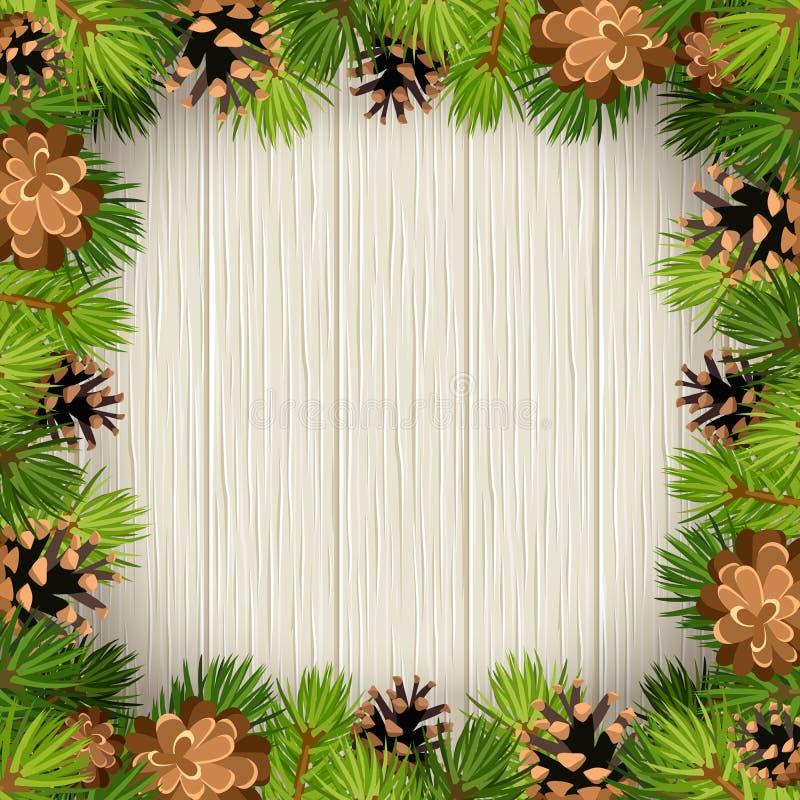 Vector la struttura con i rami ed i coni di albero dell'abete su un fondo di legno illustrazione vettoriale