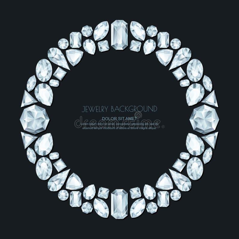 Vector la struttura del cerchio dalle gemme e dai gioielli d'argento realistici su fondo nero Elementi brillanti di progettazione illustrazione di stock