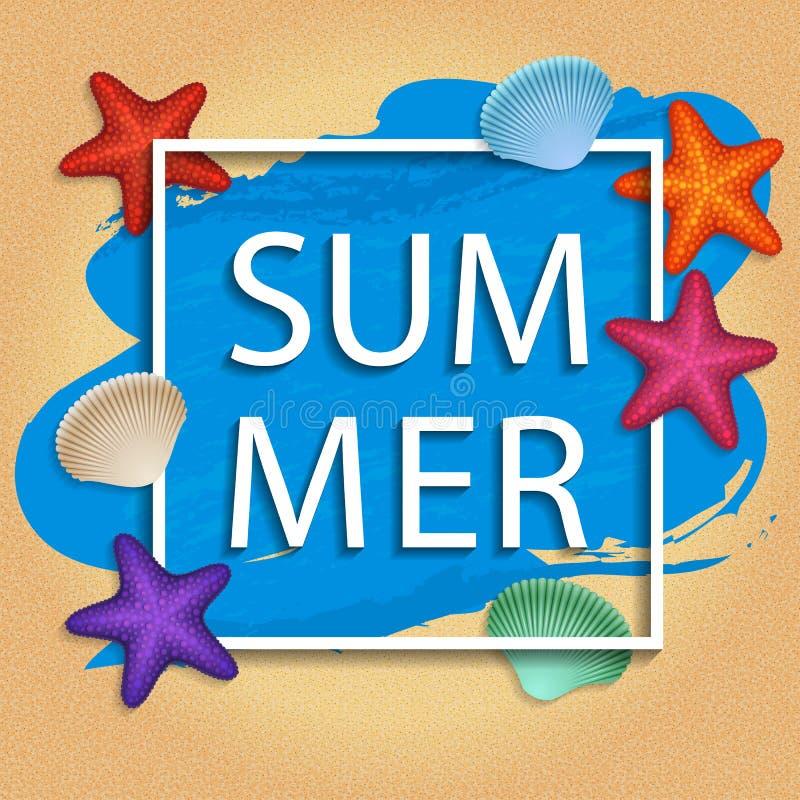 Vector la struttura dell'estate con le coperture e le stelle di mare sul fondo della sabbia della spiaggia illustrazione di stock