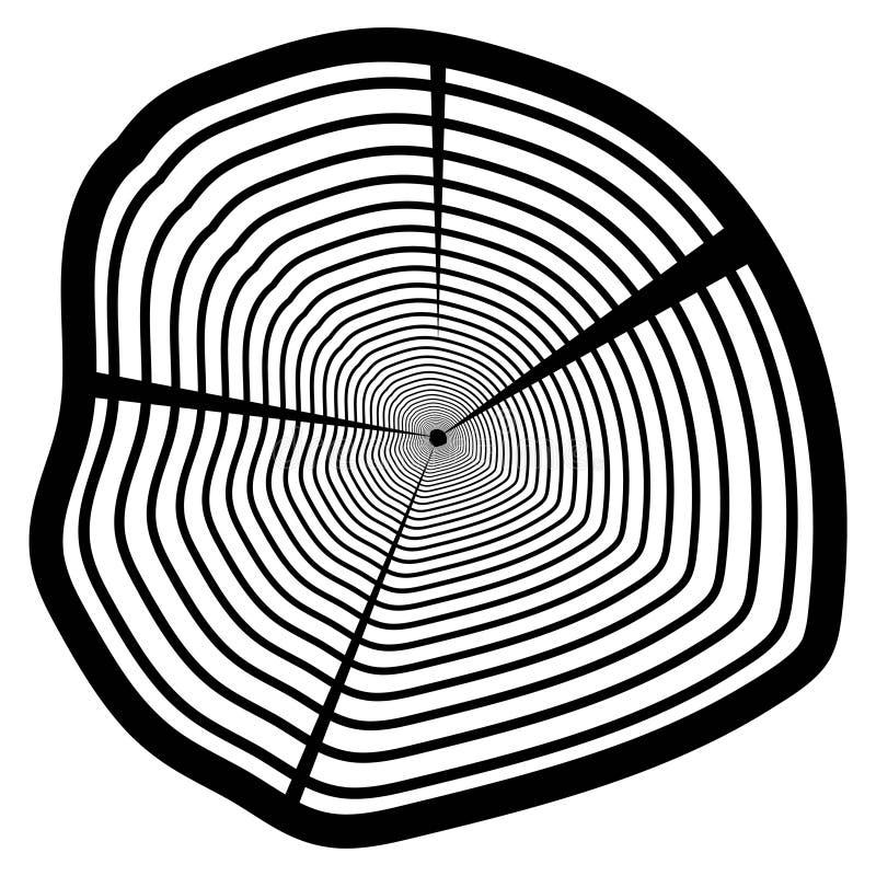 Vector la struttura di legno del modello ondulato dell'anello da una fetta di albero illustrazione di stock