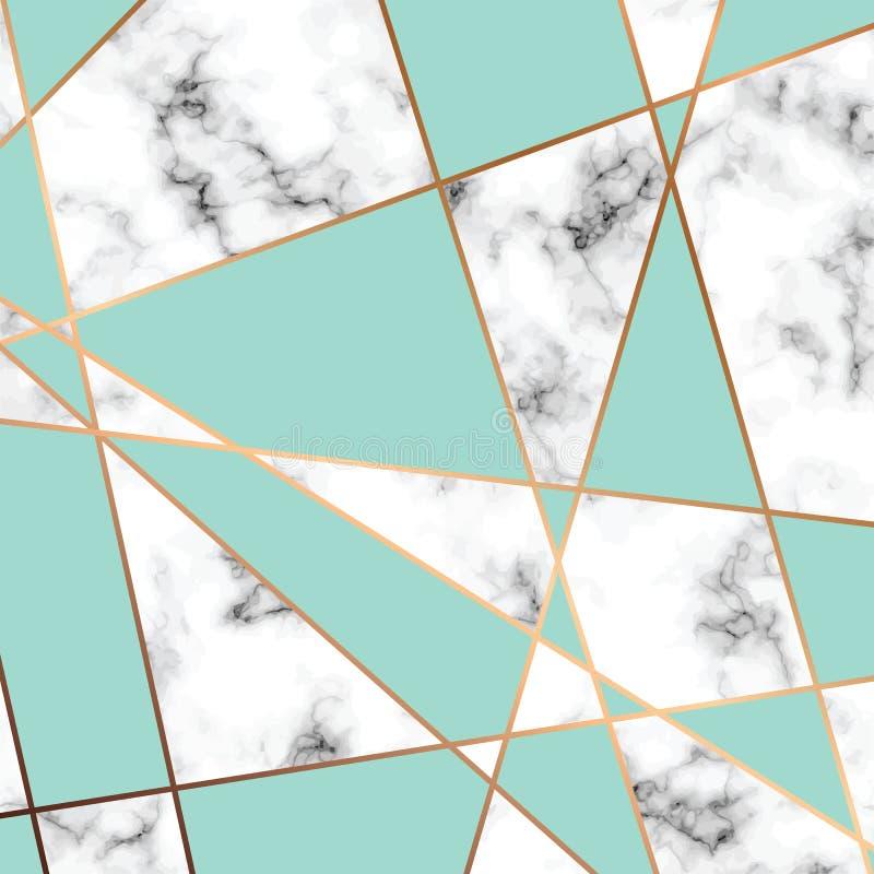 Vector la struttura di marmo, la progettazione senza cuciture con le linee geometriche dorate, la superficie di marmorizzazione i royalty illustrazione gratis