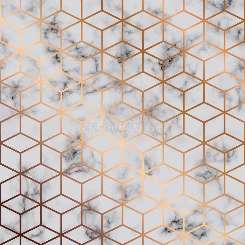 Vector la struttura di marmo, progettazione senza cuciture del modello con il modello geometrico dei cubi dorati, superficie di m illustrazione di stock
