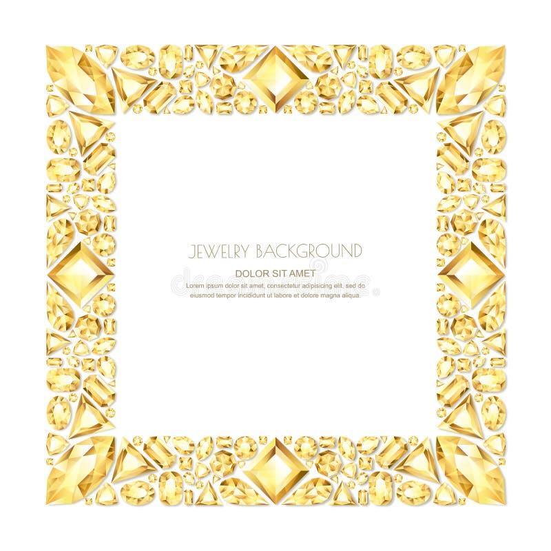 Vector la struttura quadrata dalle gemme e dai gioielli dorati realistici su fondo bianco Elementi brillanti di progettazione dei illustrazione vettoriale