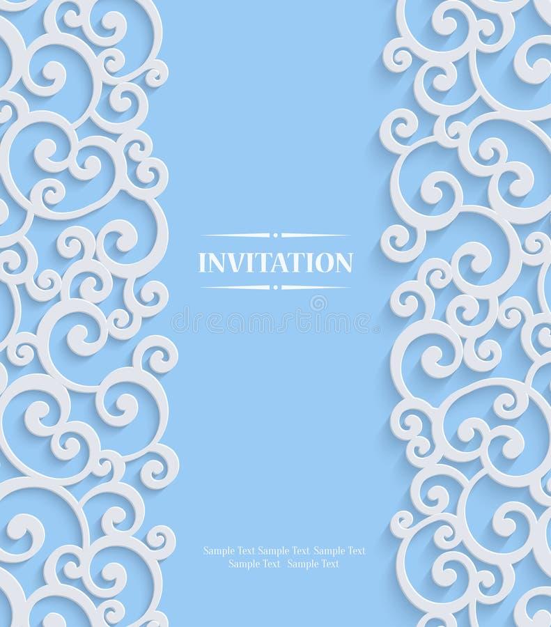 Vector la tarjeta azul de la invitación del vintage 3d con el modelo floral del damasco ilustración del vector