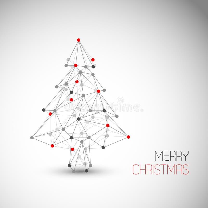 Vector la tarjeta con el árbol de navidad abstracto hecho de líneas y de puntos ilustración del vector