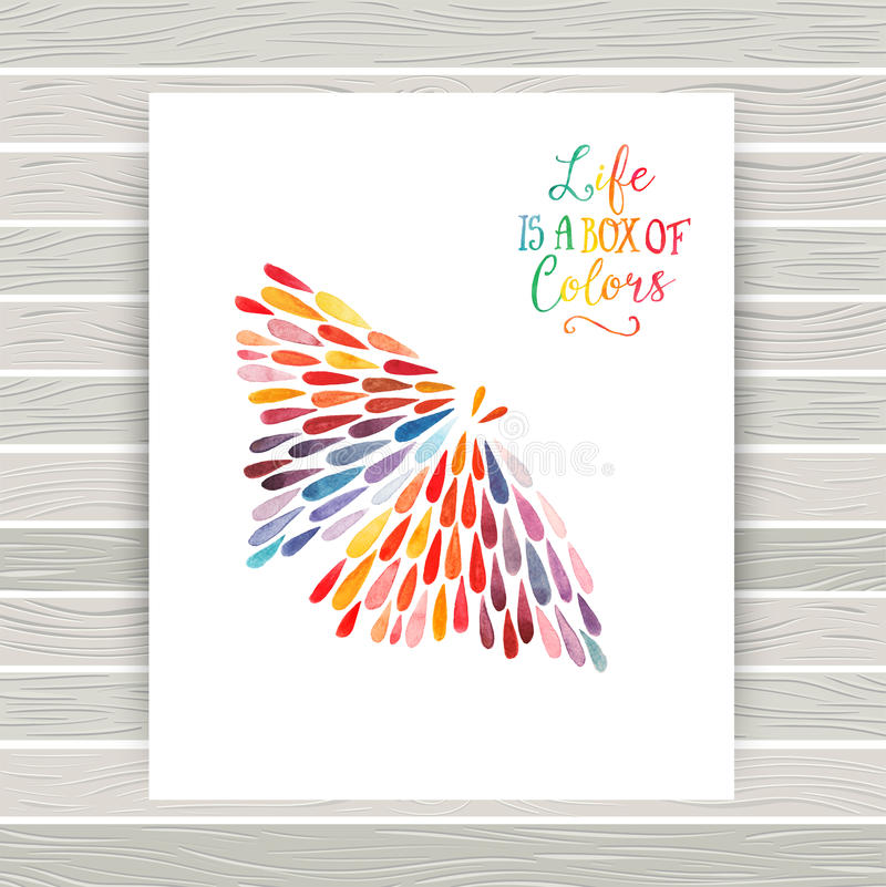 Vector la tarjeta con la mariposa hecha de gota de lluvia colorida de la acuarela libre illustration
