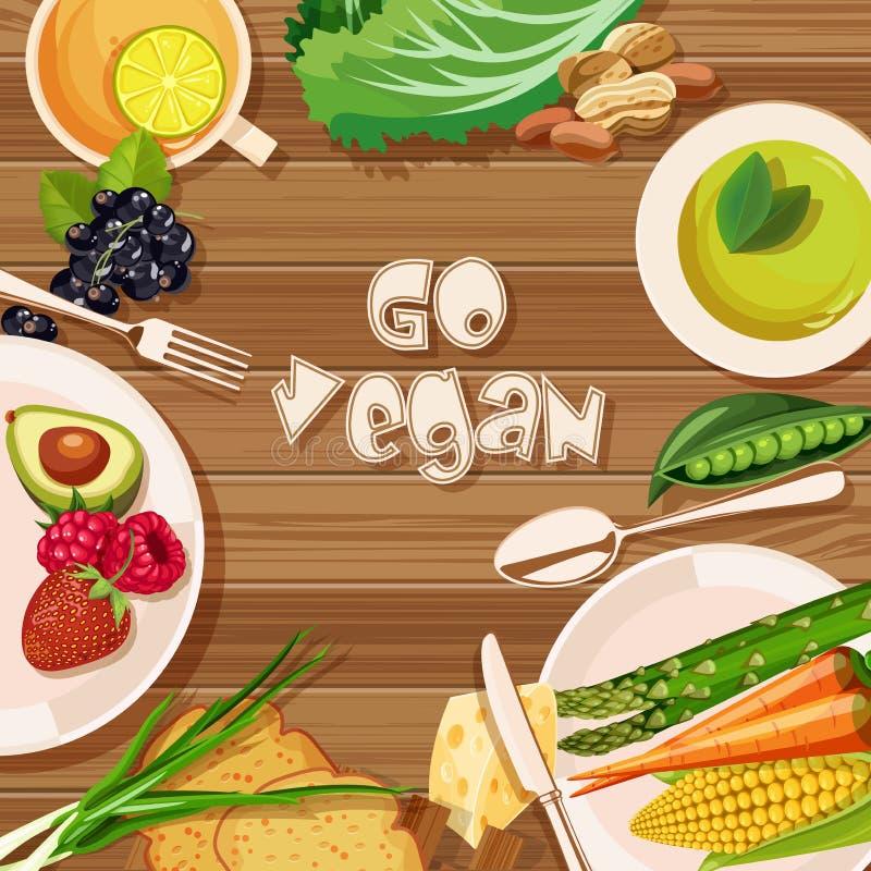 Vector la tarjeta con las verduras, puede ser utilizado para el café del vegano, mercado de los granjeros de la tienda de comidas ilustración del vector