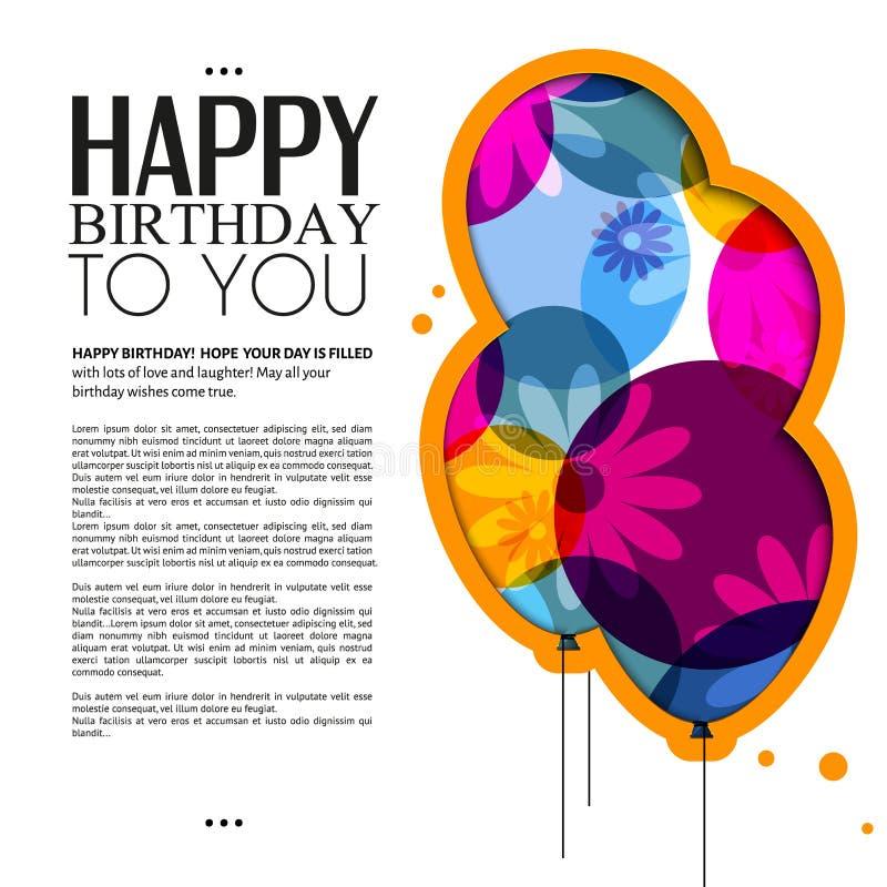 Vector la tarjeta de cumpleaños con los globos del color, flores libre illustration