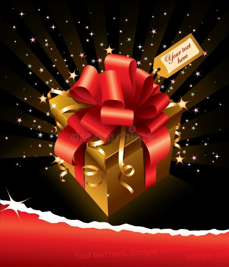 Vector la tarjeta de felicitación con el regalo y copie el espacio imagen de archivo