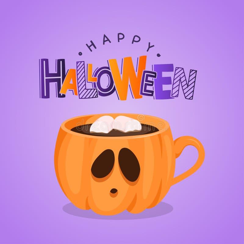 Vector la tarjeta de felicitación con la taza y las letras de café de la calabaza Víspera de Todos los Santos feliz libre illustration