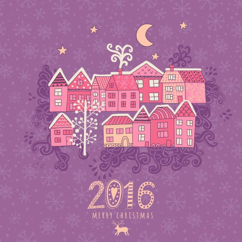 Vector la tarjeta de felicitación de la Navidad con las casas colocadas alrededor de la mitad del planeta, sistema de casas linda stock de ilustración