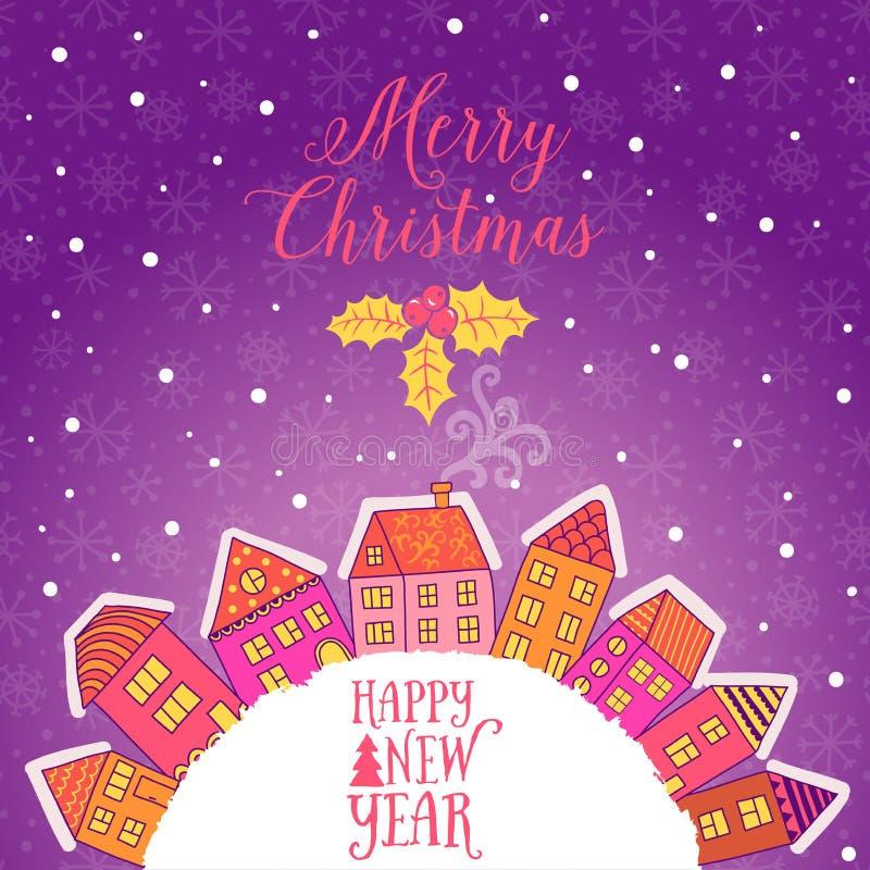 Vector la tarjeta de felicitación de la Navidad con las casas colocadas alrededor de la mitad del planeta, sistema de casas linda ilustración del vector