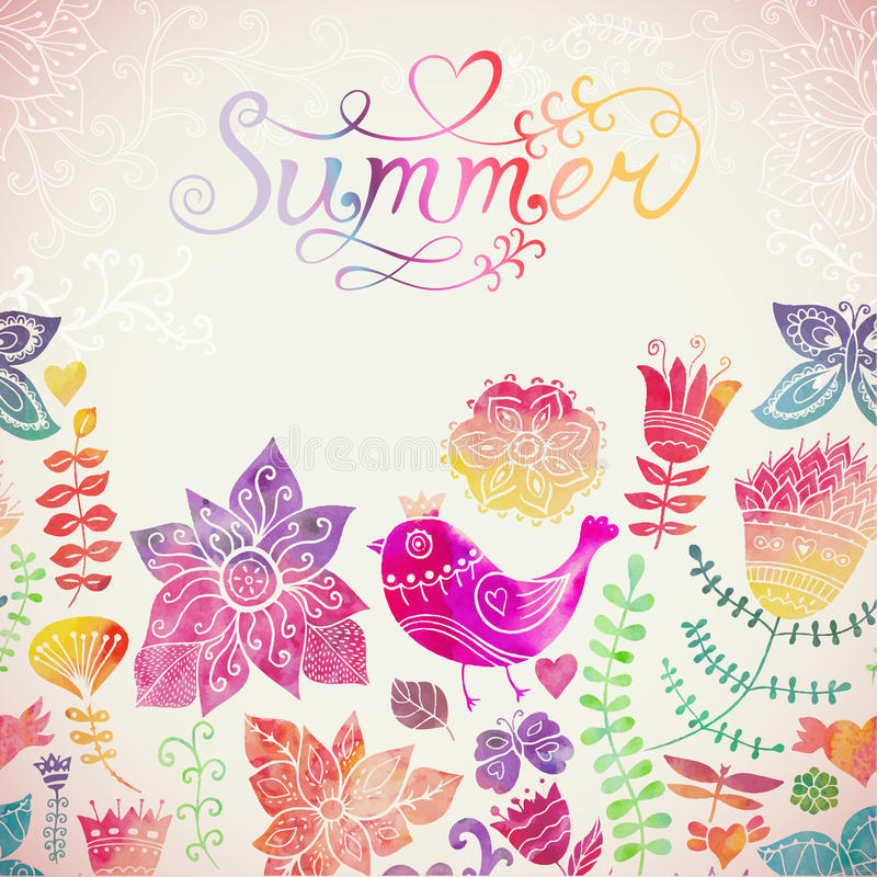 Vector la tarjeta de felicitación floral de la acuarela con las letras del verano ilustración del vector