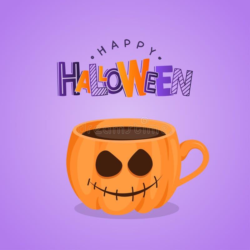 Vector la tarjeta de felicitación púrpura con la taza de café de la calabaza libre illustration