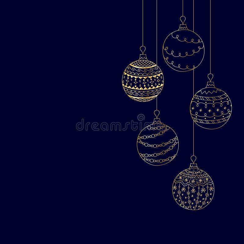 Vector la tarjeta de la invitación de la Navidad del juguete de la bola de la Navidad del oro stock de ilustración