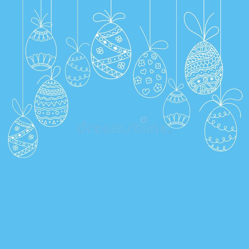 Vector la tarjeta de la invitación de Pascua de los huevos de Pascua del garabato Mano que extrae la plantilla de Pascua de los h stock de ilustración
