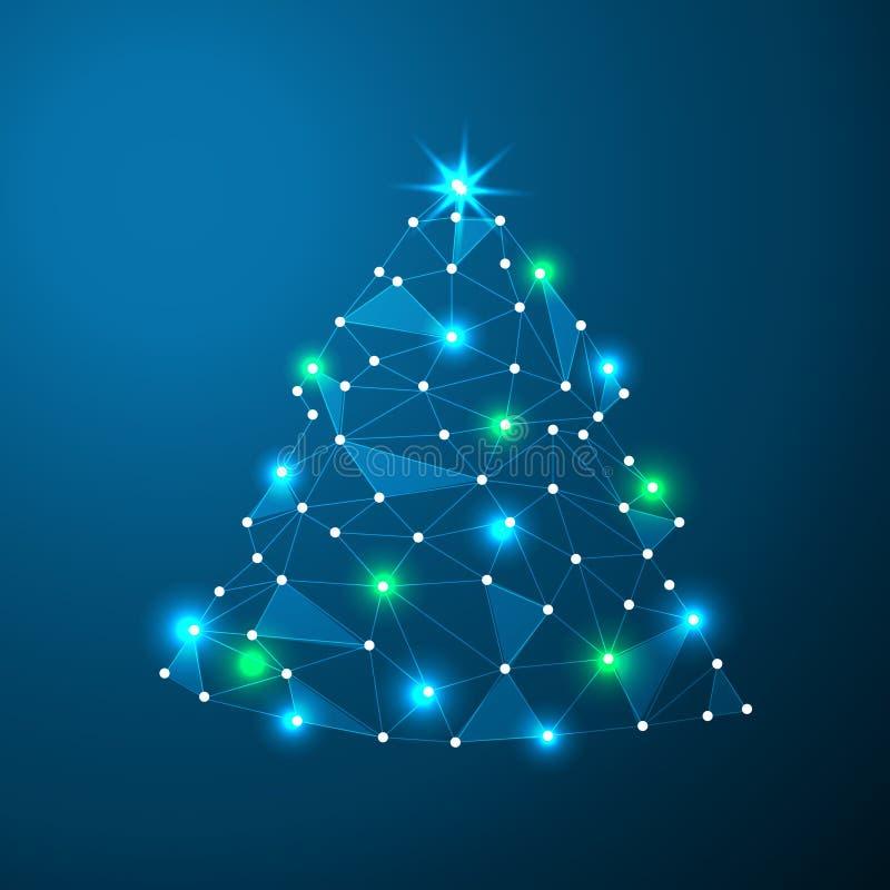 Vector la tarjeta de Navidad con el árbol de navidad abstracto hecho de líneas ligeras y de arte polivinílico bajo de los puntos libre illustration
