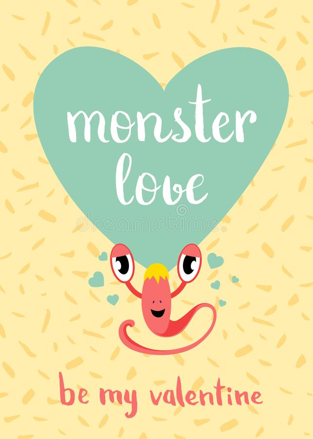 Vector la tarjeta del amor del monstruo del día de tarjetas del día de San Valentín con el corazón azul, el monstruo lindo y las  ilustración del vector
