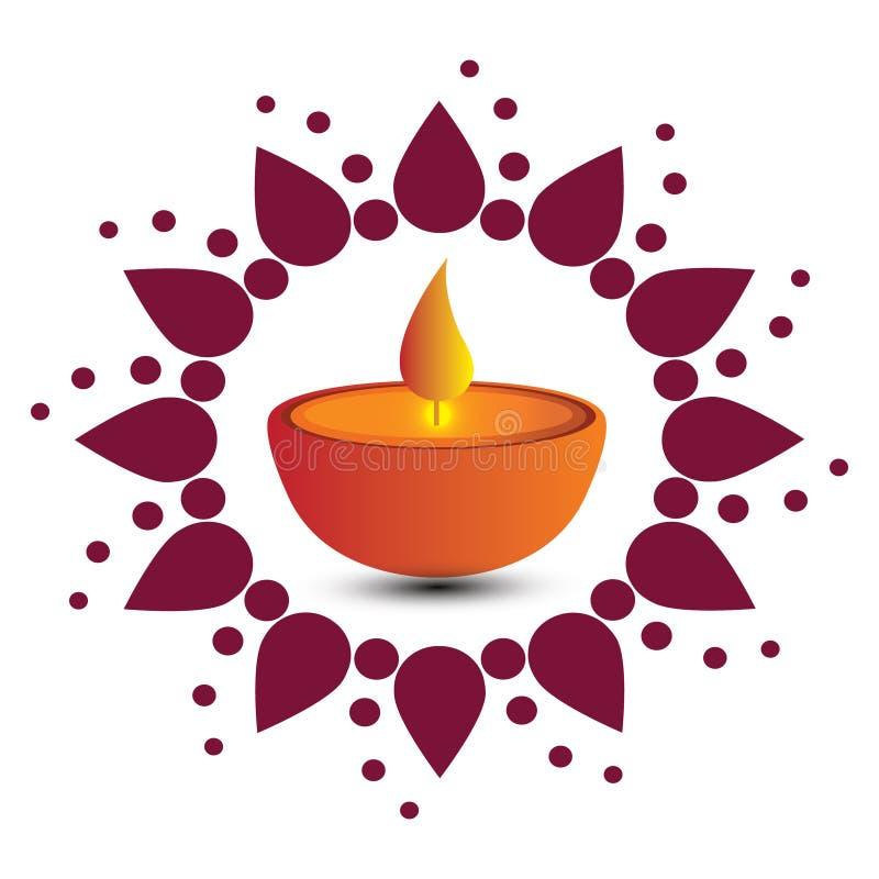 Vector la tarjeta del ejemplo o de felicitación del festival de Diwali con la lámpara de aceite y los elementos hermosos elegante stock de ilustración