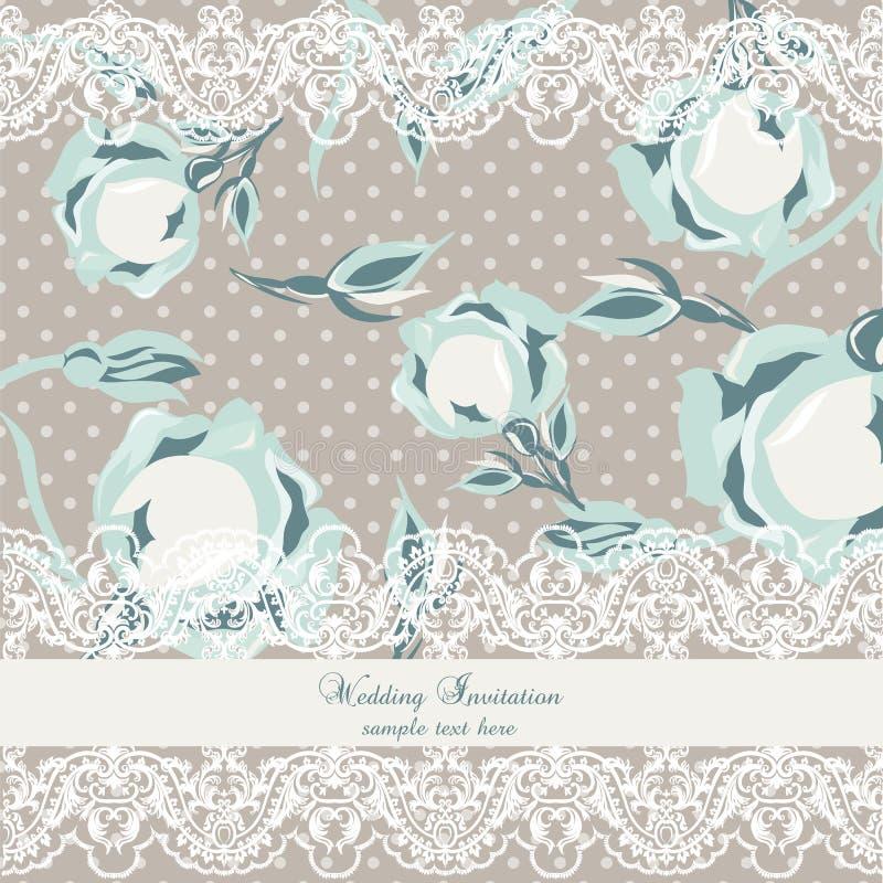 Vector la tarjeta delicada de la invitación del vintage del cordón y de las rosas ilustración del vector