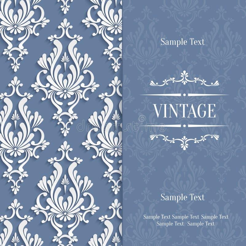 Vector la tarjeta gris de la invitación del vintage 3d con el modelo floral del damasco ilustración del vector