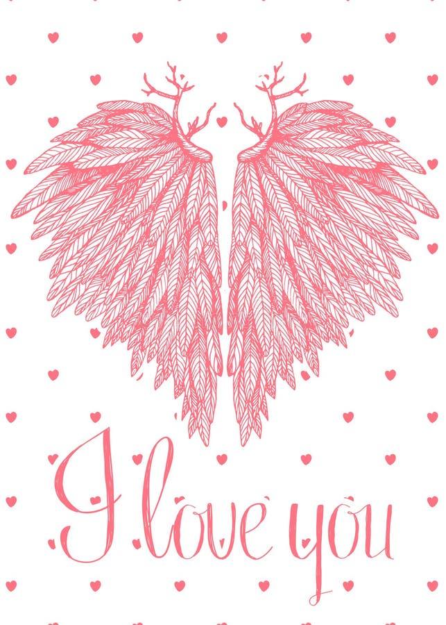 Vector la tarjeta preciosa linda con las alas en forma de corazón del ángel ilustración del vector