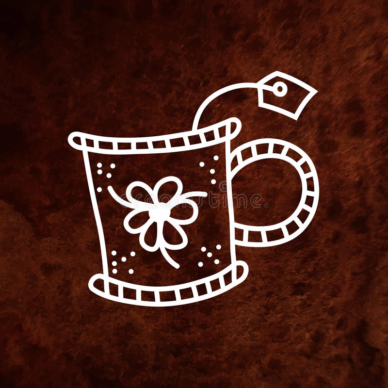 Vector la taza de té dibujada mano con el ornamento floral y libre illustration
