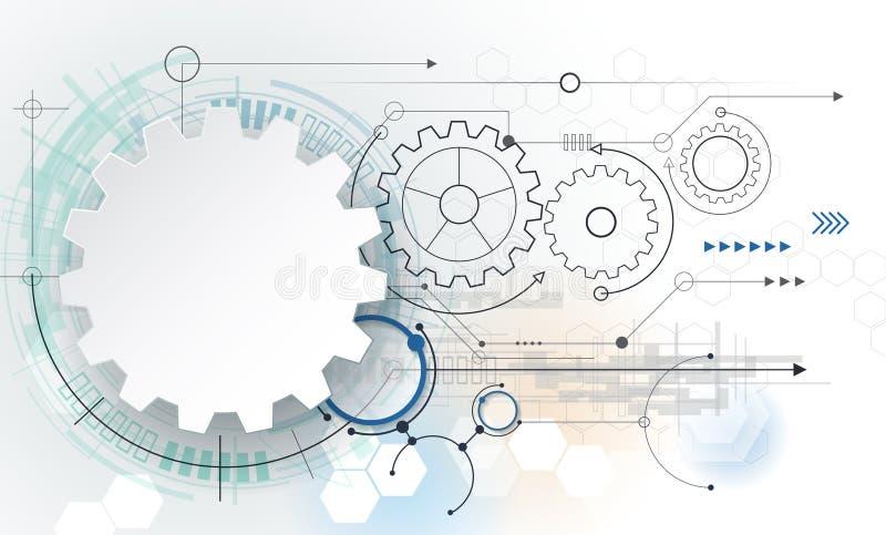 Vector la tecnología futurista, rueda de engranaje del Libro Blanco 3d en placa de circuito stock de ilustración