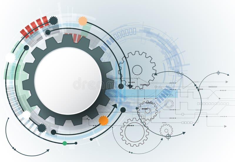 Vector la tecnología futurista, rueda de engranaje del Libro Blanco 3d en placa de circuito libre illustration