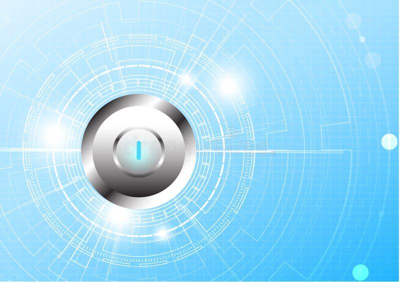 Vector la tecnologia del cerchio ed il tasto di arresto su fondo blu illustrazione di stock