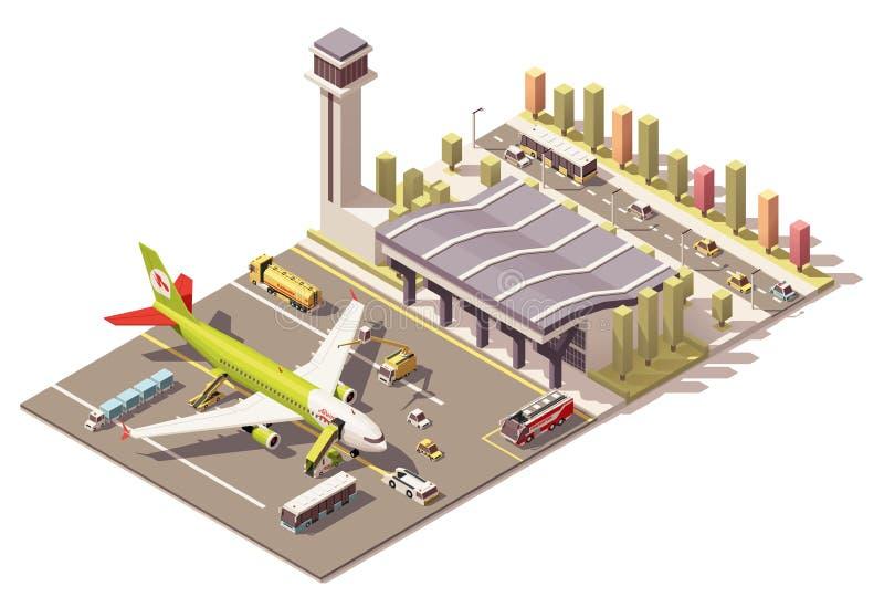 Vector la terminal polivinílica baja isométrica de aeropuerto con el aeroplano y el equipo del apoyo en tierra ilustración del vector