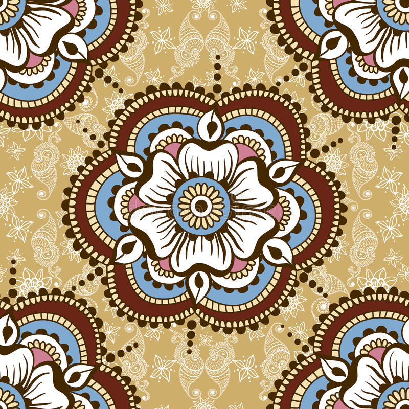 Vector la textura inconsútil con el ornamento floral en estilo indio Modelo del ornamental de Mehndi Diseño étnico dibujado mano libre illustration