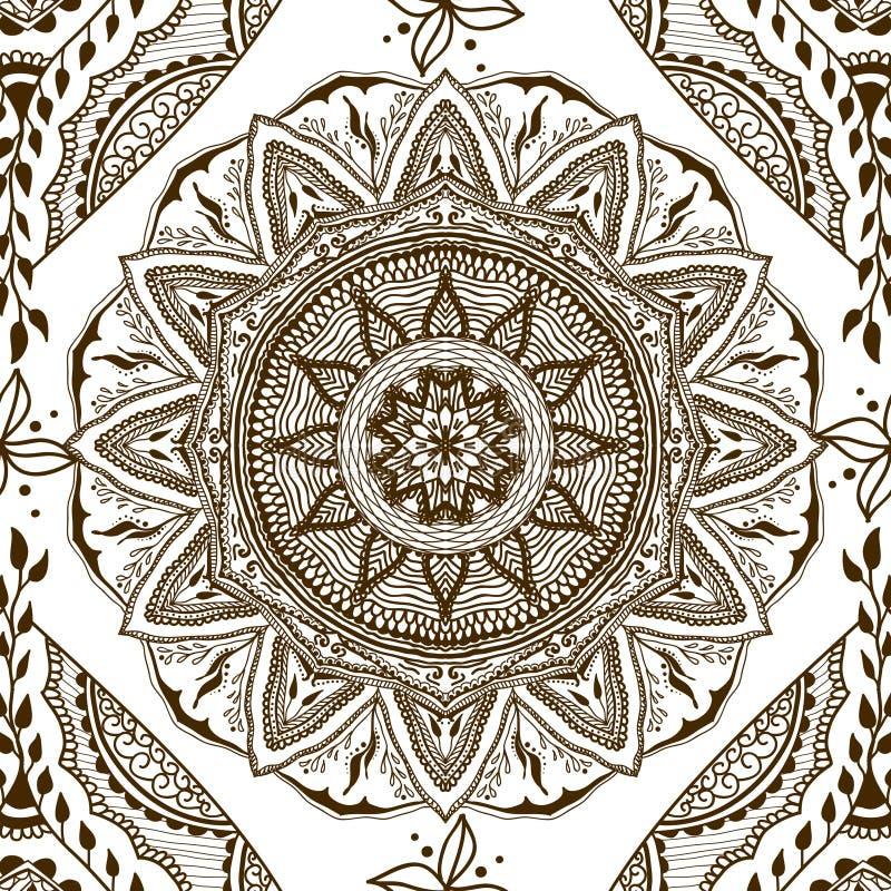 Vector la textura inconsútil con la mandala floral en estilo indio Fondo del ornamental de Mehndi ilustración del vector