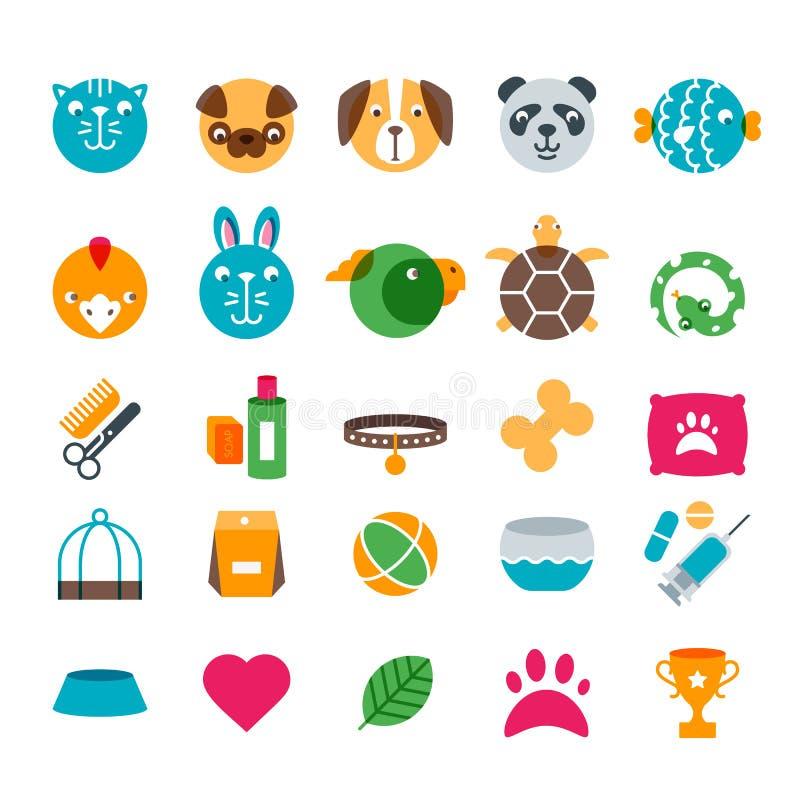 Vector la tienda de animales, el parque zoológico o los iconos planos veterinarios fijados ilustración del vector