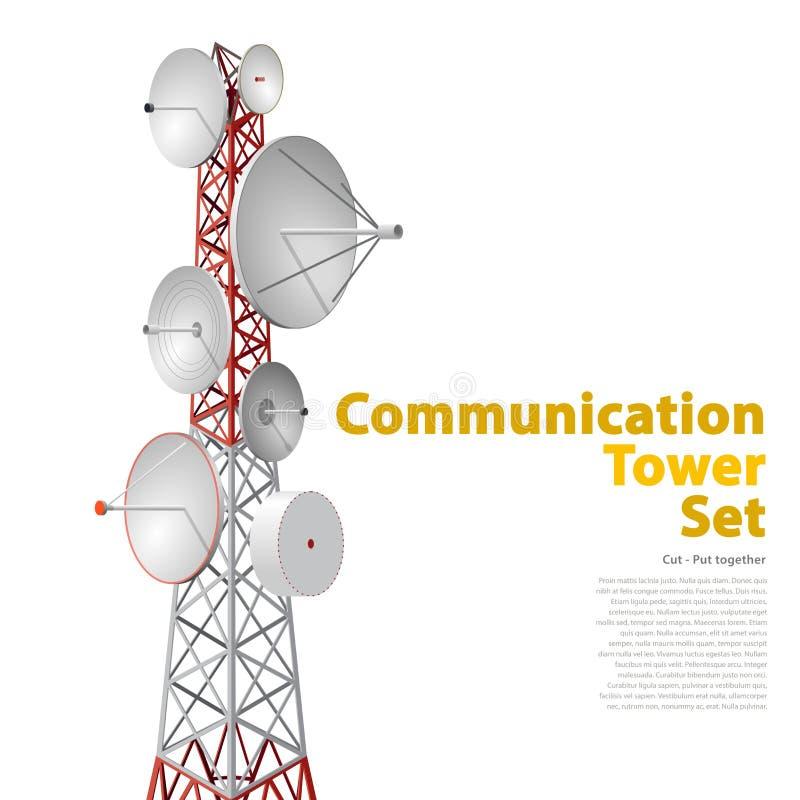 Vector la torre satellite nella prospettiva isometrica isolata su fondo bianco royalty illustrazione gratis
