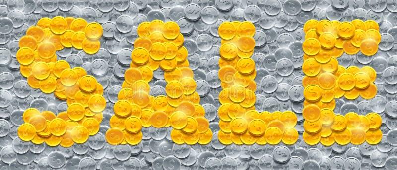 Vector la venta de la palabra hecha de monedas de oro brillantes en el fondo llenado de las monedas de plata libre illustration