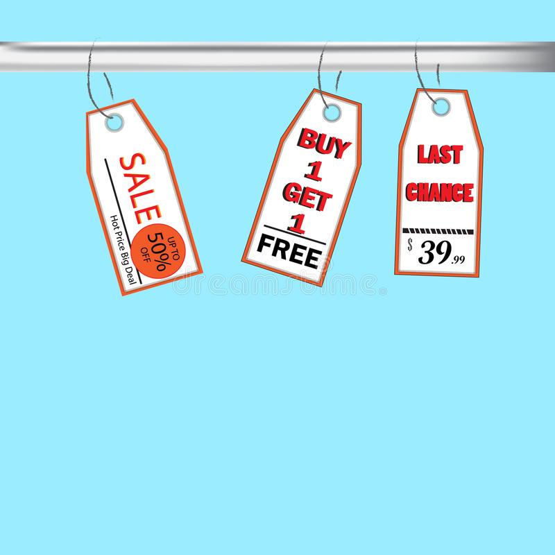 Vector la venta de precio, compre 1 get1, última oportunidad stock de ilustración