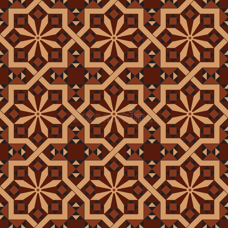 Vector la versione del modello editabile d'annata senza cuciture delle mattonelle con i motivi geometrici e floreali illustrazione di stock